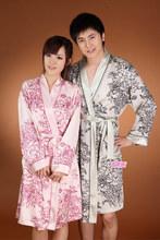 2014 Free Shipping Spring and autumn noble vintage kimono faux silk lovers robe nightgown set sleepwear lounge(China (Mainland))