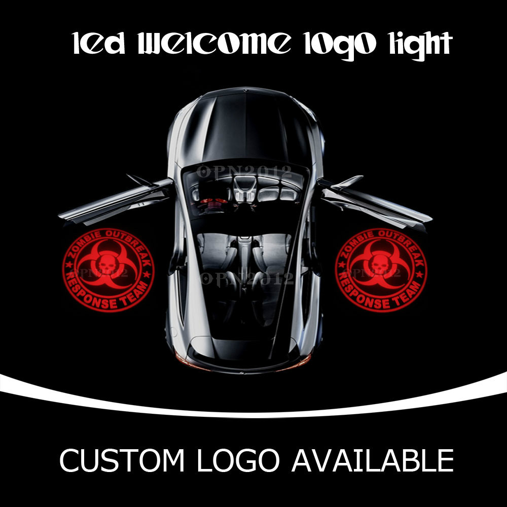 Q5 Projector LED Light Car Door Weclome Ghost Light For Zombie Outbreak Response Team Skull For GMC Ford Dodge 1519 Red(China (Mainland))