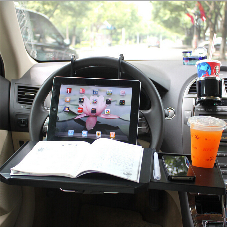 Foldable Car Desk for iPad Laptop Computer Holder Drawer Mouse Frame Cup Pen Sink Automobile Dinner Dining Table Free Shipping(China (Mainland))