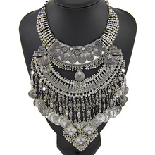 New fashion ancient silver coin women exaggerated metal stout maxi statement Necklaces & Pendants wholesale jewelry NK980