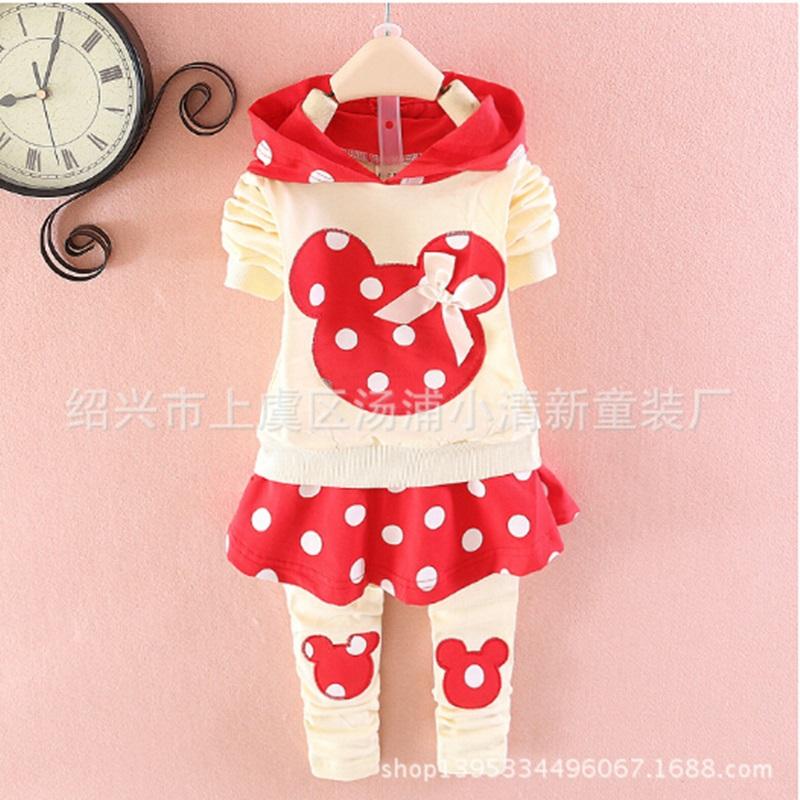 Childrens clothing 2015 nununu The mouse design Menina de roupas 4 kinds color Girls boutique clothing 2-7T Childrens clothing(China (Mainland))