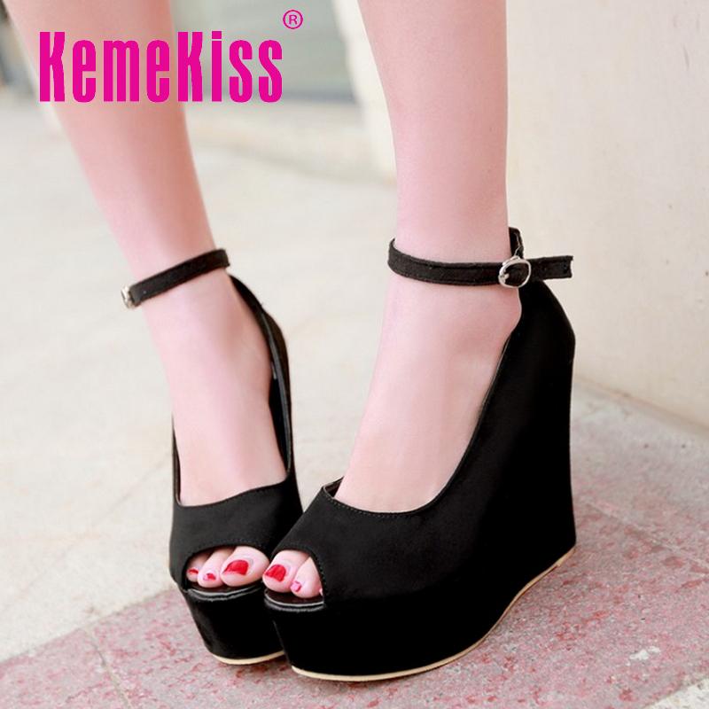 women wedge stiletto high heel shoes platform wedding open toe quality footwear fashion heeled heels shoes size 34-39 P17670<br><br>Aliexpress