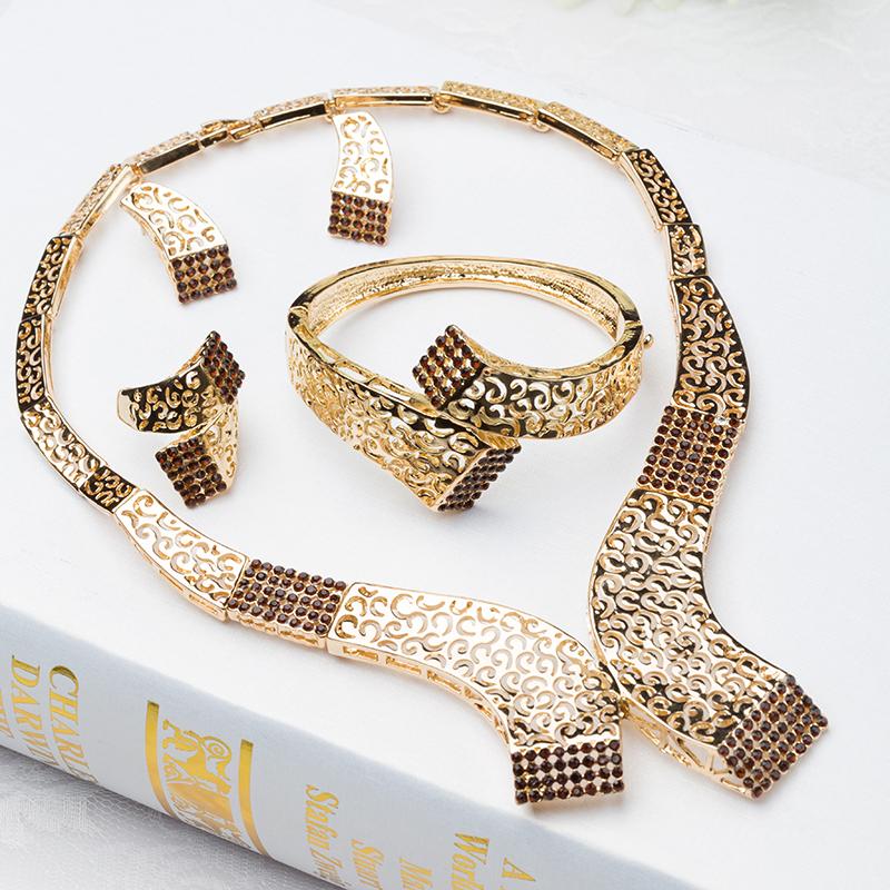 Fashion Wedding Party Accessories bridal jewelry sets fine Crystal Rhinestone Pendant Costume Jewelry Sets J011 - Verynice store