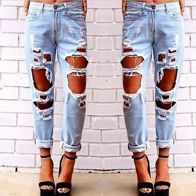 2015 New Fashion jeans woman Light Blue Solid Novelty Skinny Full length ripped(China (Mainland))