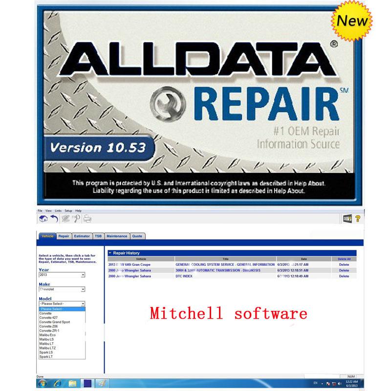 2016 Auto Repair Software Alldata 10.53 +Mitchell on demand with 750GB usb hard disk work shop support 32bit& 64bit Wins 7/8/xp(China (Mainland))