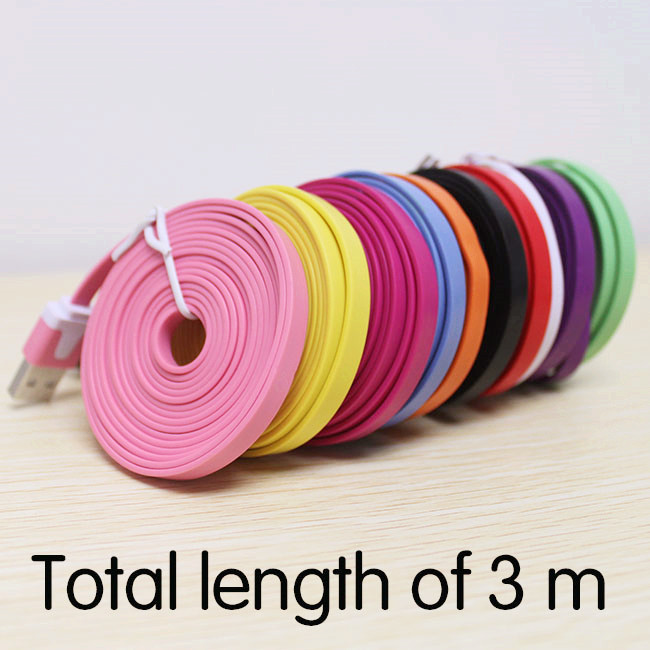 300cm High Quality Noodle Flat 3M (10 ft) Long 2.0 USB Charging Data Sync Cord Cable for Iphone 5 5s 5C 6 plus for ipad(China (Mainland))