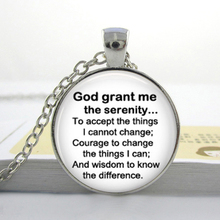 Wholesale Serenity Prayer Glass Dome Necklace.Round art pendant jewelry. Quote jewelry. positive thinking.,photo glass necklace(China (Mainland))