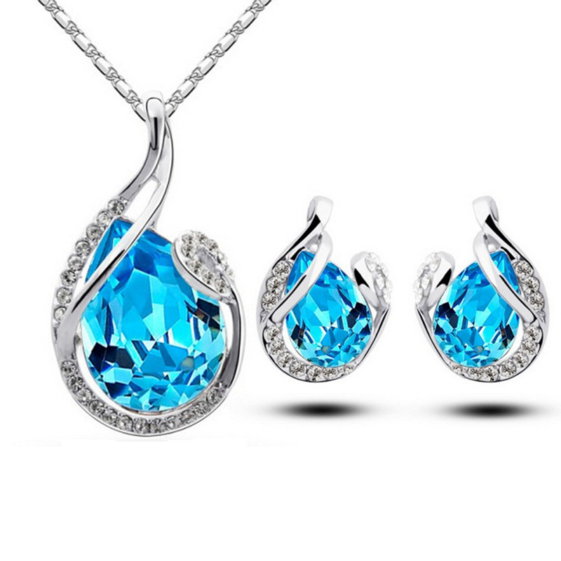 Platinum pendant lead-free Crystal Rhinestone 2016 new crystal beauty tears drop earrings necklace of zinc alloy plating(China (Mainland))