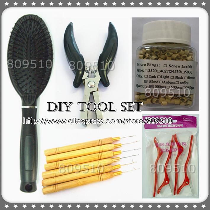 High Quality DIY Tool Set Pre-bonded Hair Extension Tools, Steel Plier, Loop Brush, Screw Micro Ring, Loop Needle &amp; Hair Clips<br><br>Aliexpress