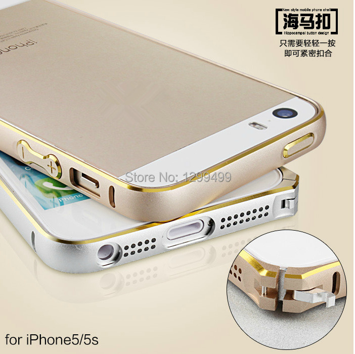 For iPhone 5 5S Ultra Thin Slim Aluminium Metal Hippocampal buckle Bumper Frame Cover Case Curved Design Free Screen Protector(China (Mainland))