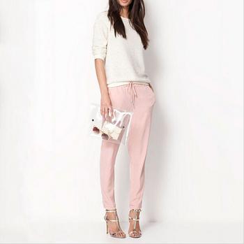 Hot Sale New 2015 Brand Casual Women Pants Solid Color Drawstring Elastic Waist Comfy Full Length Chiffon Harem Pants
