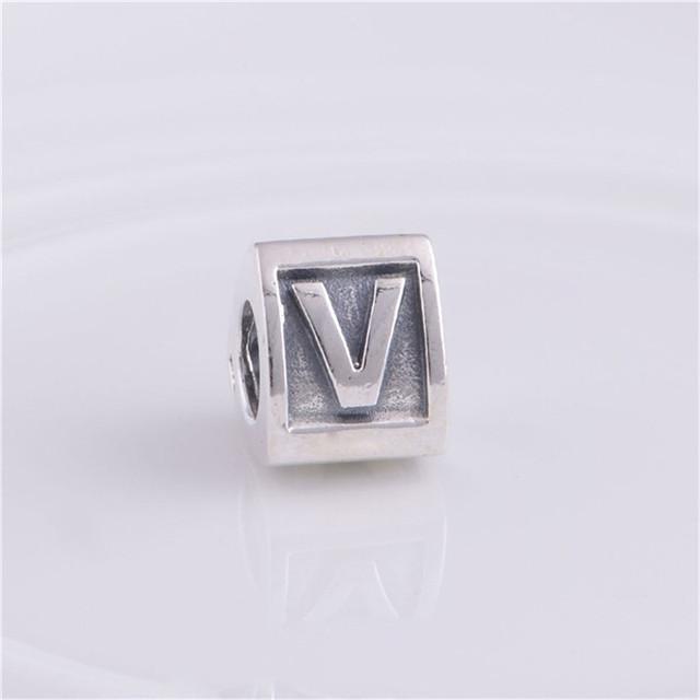Письмо V бусины треугольной формы подходит пандоры прелести браслет 925-Sterling-Silver европейские женщины DIY мода ювелирных изделий