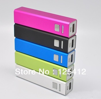 50pcs/lot New 6 Color 2600mAh Universal Backup USB Battery Power Bank Lipstick External Battery Pack Charger +Retail Package