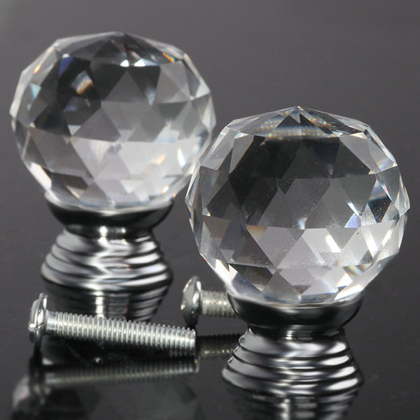2pcs Glass Crystal Cabinet Drawer Furniture Knob Door Handles Kitchen Pull Handle Door Wardrobe Hardware 30mm Clear