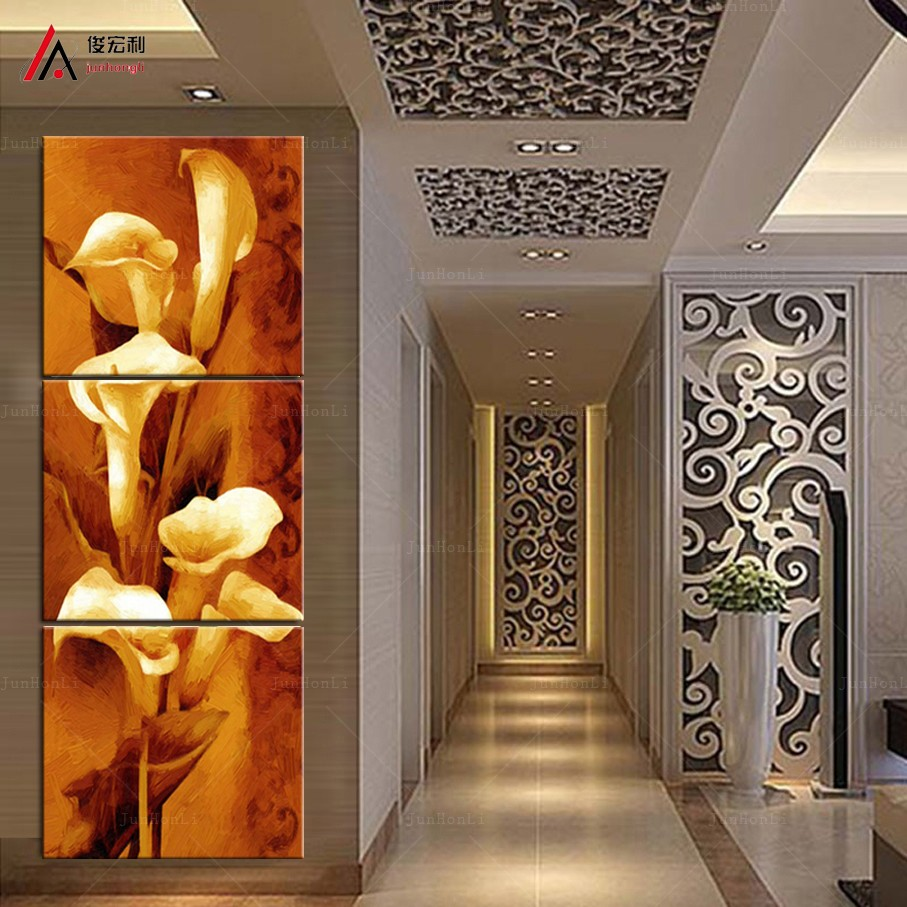 3 Piece High Quality Modern Abstract Oil Painting Calla flower Corridor wall paintings Decorative Wall Art Print On Canvas(China (Mainland))