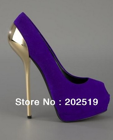 Фотография 2013 Sexy Peep Toe Purple Metal Heels Platform Pumps Ladies High Heel Sandals Small Size Shoes
