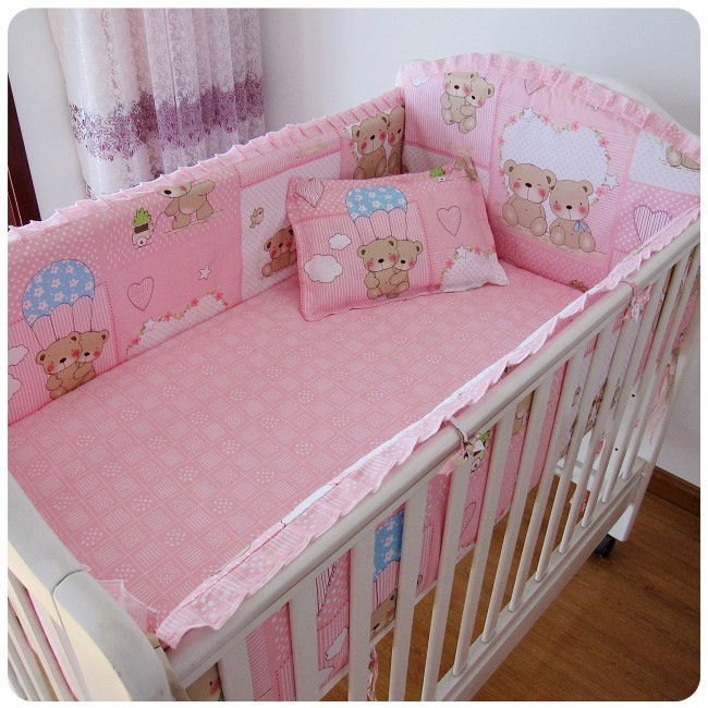 Promotion! 6PCS Pink Bear Baby Girl Bedding Set for Children Cradle (bumpers+sheet+pillow cover)<br><br>Aliexpress