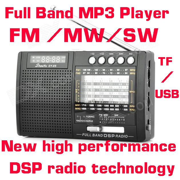 SY-X5 Full Band MP3 Player New high performance DSP radio technology FM AM SW radio(China (Mainland))