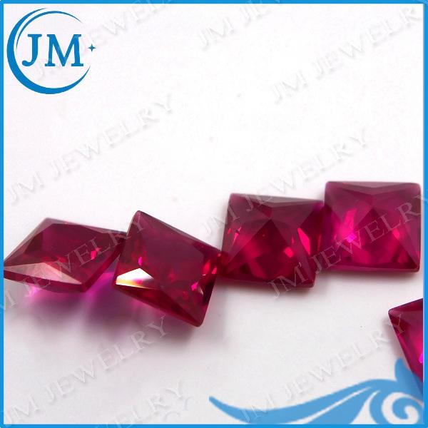 AAAAA 4*4mm square shape 5# loose ruby gemstones ruby corundum stone synthetic corundum stones for jewelry DIY making(China (Mainland))