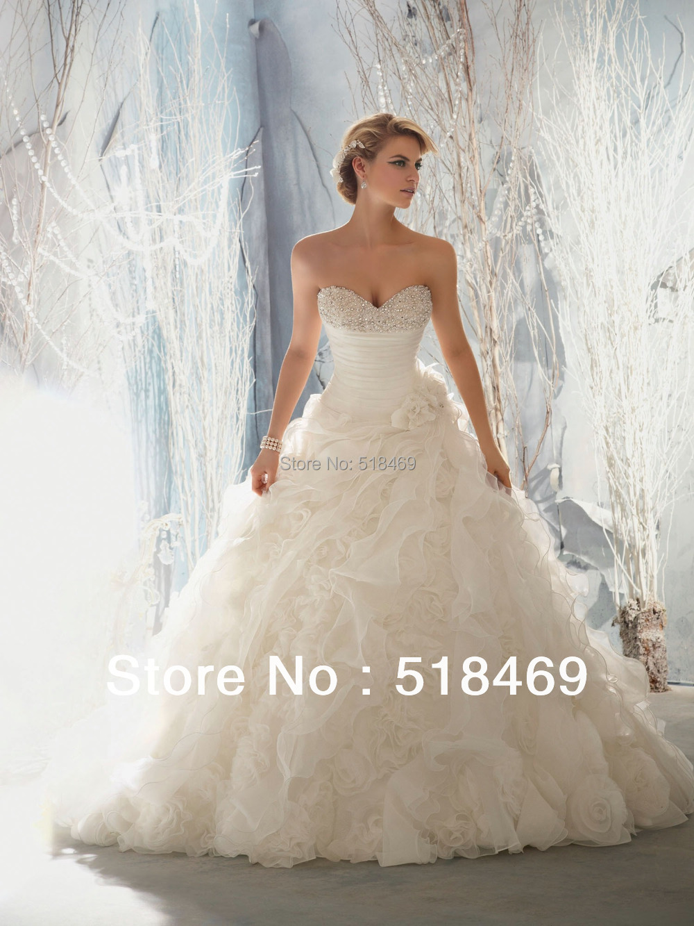 Ball Gown Wedding Dresses With Train : Train organza wedding dresses bridal gowns with crystals and flower