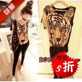 one piece set suit Leopard tiger 3D print fashion jumpsuit bodysuit women's summer plus size harem pants jumpsuit trousers(China (Mainland))