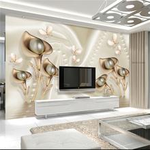 3d three-dimensional flowers luxury silk jewelry Fresco living room TV sofa bedroom background wall wallpaper murals