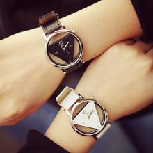 Moda Casual Women ' s Watch triángulo de lujo de pulsera de cuarzo Skeleton acero inoxidable Relogio Feminino reloj nuevo estilo