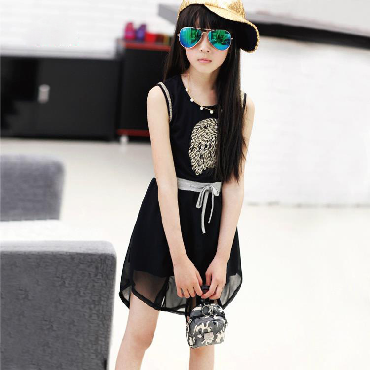 Children's Garment Chiffon Vest Girl Dress Kids Clothing 2 Colour Belt Eagle Embroidery(China (Mainland))