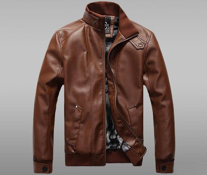 Brown Leather Aviator Jacket - Jacket