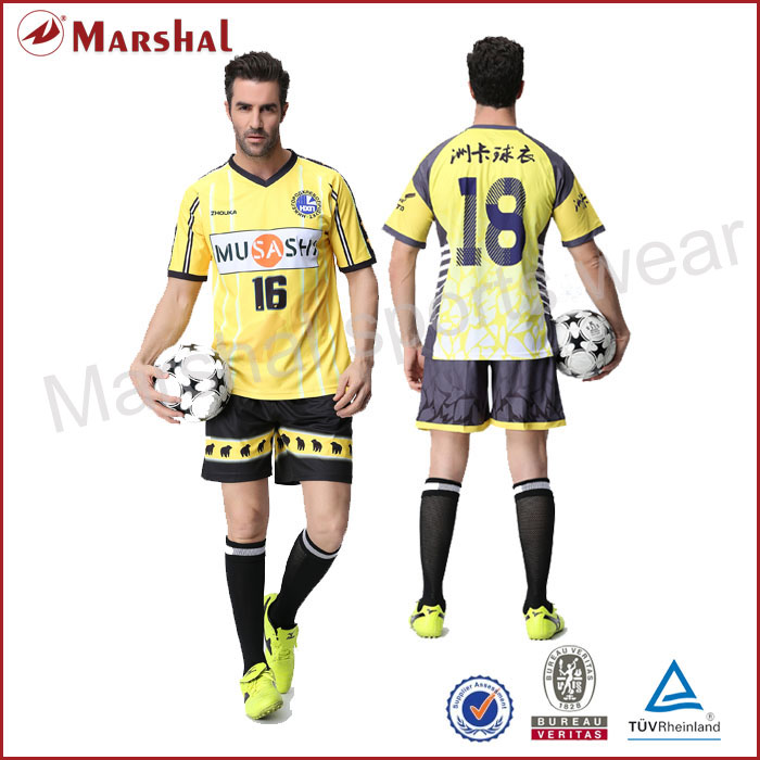 Custom yellow soccer jersey,sublimation colorful men soccer shirt,men sportswear wholesale(China (Mainland))