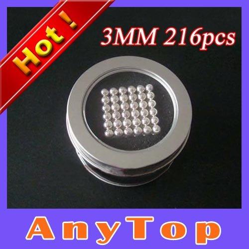 Free Shipping,10sets/lot Dia 3mmX216pcs New Bucky Balls Cube Nickel Color Neodymiums Novelty NEOCUBE with Gift Tin Box packing(China (Mainland))