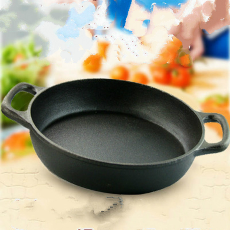FRYING GRILL Pan Cast Iron Pot WOK Cookware Kitchen Cooking Tools NO COVER(China (Mainland))