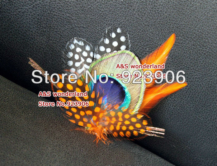 orange Peacock Feather Fascinator hair clip Headpiece bride Fascinator Bridesmaids Fascinator hair piece(China (Mainland))