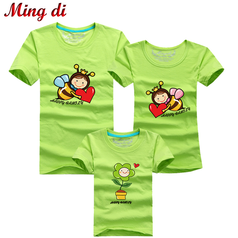 Ming Di HOT Selling 95% Cotton T-Shirt Family Set T Shirts 2016 Matching Family Clothing Men Women Kids Cartoon Bees T-Shirts(China (Mainland))