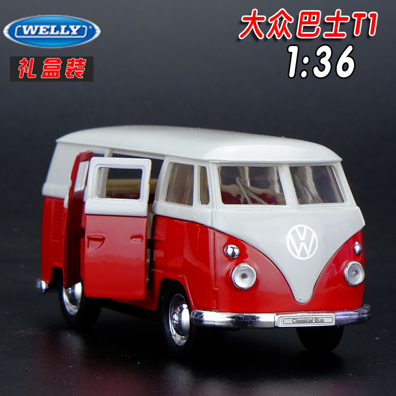 Gift for baby 1pc 1:36 10cm delicate Welly Volkswagen bus T1 car alloy model creative decoration boy children toy(China (Mainland))