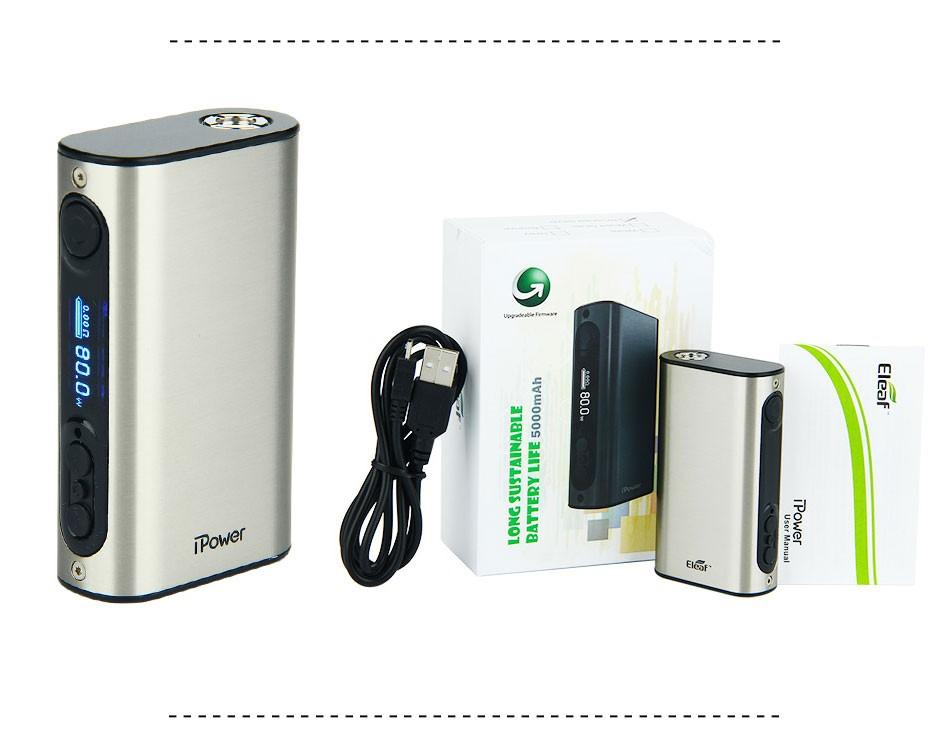 ถูก Eleaf iPower 80วัตต์/100วัตต์TCสมัย5000มิลลิแอมป์ชั่วโมงในตัวแบตเตอรี่eleaf istick ipowerกล่องบุหรี่อิเล็กทรอนิกส์สมัยสำหรับMelo 3/ไร้ขีดจำกัดถังRDTA