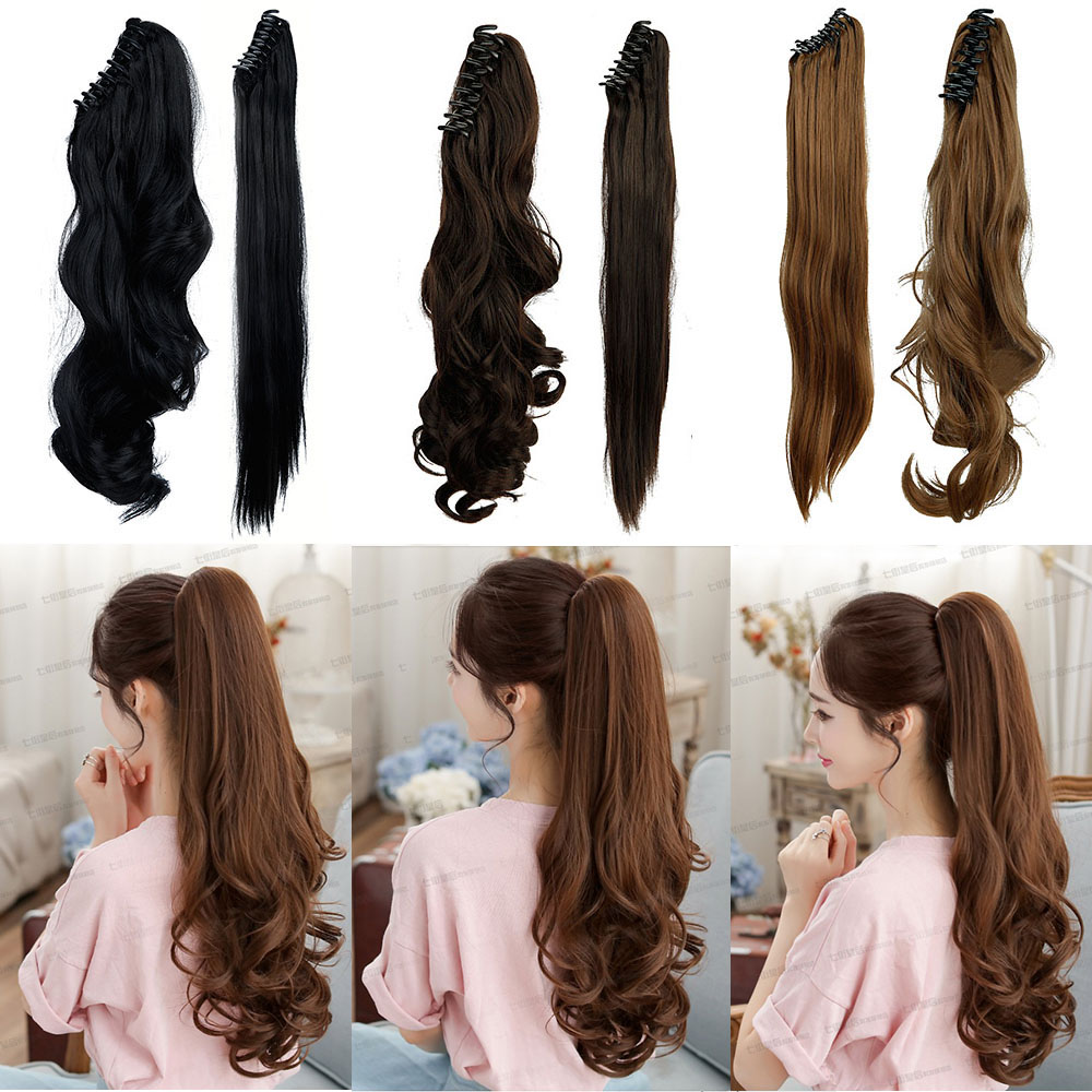 """US SHIPPING Long 18"""" Curly Claw Ponytail Clip in on Pony tail Hair Extensions Hair Piece Blonde Black Brown Fashion Natural Hair(China (Mainland))"""