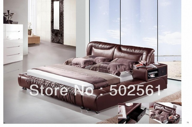 contemporary King Queen size modern leather bed with storage drawer cabinet ottoman