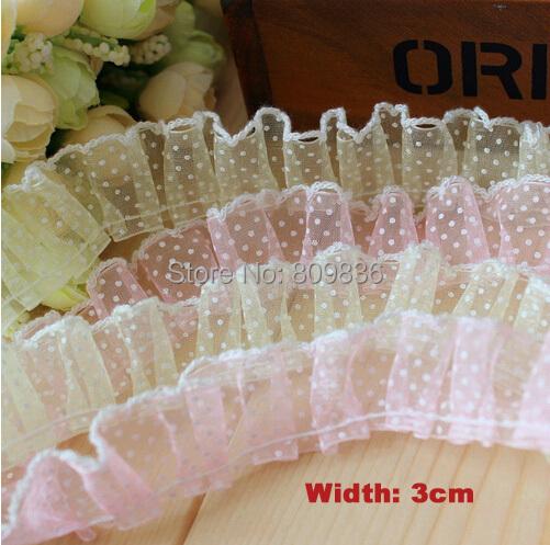 3cm Kawaii polka dot sheer lace Light pink & light yellow lace trims trimmings for garment Scrapbooking diy accessories(ss-3540)(China (Mainland))