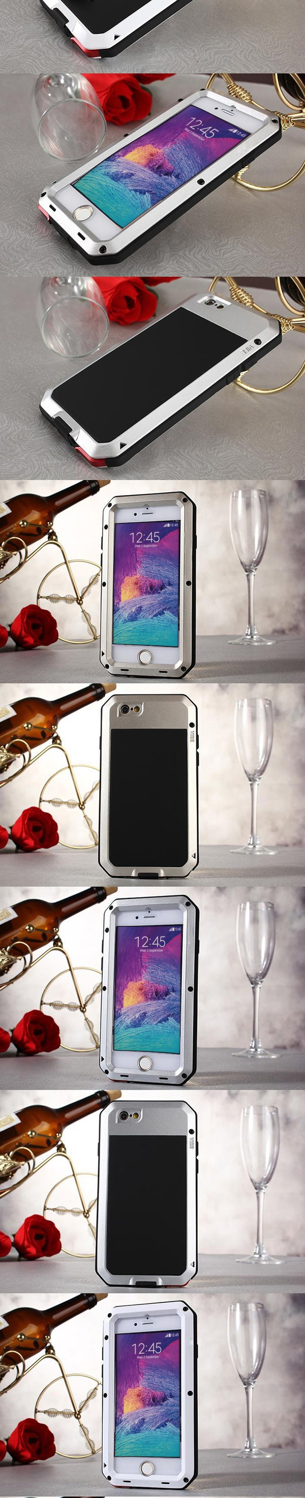 Metal Extreme Shockproof Military Heavy Duty Tempered Glass Cover Case Skin for iPhone 6 Plus/6s Plus 5.5″ Full-Body proof case