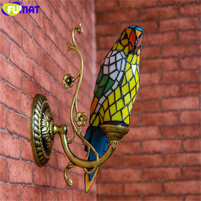FUMAT Tiffany Wall Sconce Lamp Stained Glass Parrot Decor Creative Art Wall Lights Balcony Stair Vintage Tiffany Light Fixtures(China (Mainland))