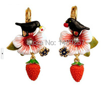 Les nereides  earring New Arrival Fashion Style Jewelry 18K Yellow Gold Plated Emanel Dangle Earrings(China (Mainland))