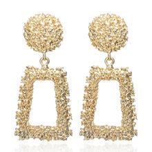 2019 Bông tai Vintage lớn cho nữ tuyên bố Bông tai hình học màu sắc vàng kim loại mặt dây chuyền bông tai xu hướng trang sức thời trang(China)