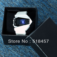 Promotion White Airplane Model Pilot LED Flashlight Alarm Silicone Band Wrist Watches + Gift PaperBox Free Shipping(China (Mainland))
