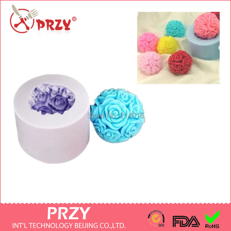 Rose modelling silicon 3D soap mold Cake decoration manual Handmade candle NO.:SO128 - PRZY Int'L Technology Beijing Co.,LTD. store