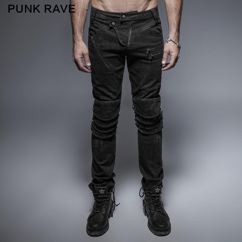 Панк Рейв Панк Весна Черный Уникальная Броня Колена Человек Стиральная Джинсы