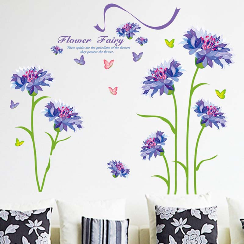 Purple Romantic Big Flower Wall Stickers Home Decor: Warm Romantic Purple Flower Wall Stickers DIY Living Room
