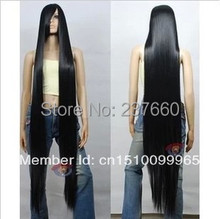 Top quality wig150cm  200cm black long straight hair wigs synthetic cosplay wig  Party wig for women Free Shipping(China (Mainland))