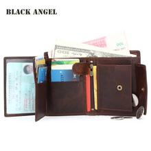 Buy BLACK ANGEL Vintage Genuine Leather Men Wallets Cowhide Trifold Zipper Wallet Short Vertical Design Purse Card Holder for $14.92 in AliExpress store