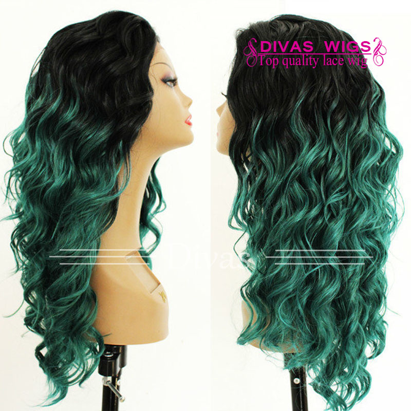 Dark root T1B/green Jerry Curl Glueless Lace front wigs heat resistant Synthetic Hair Wig full180%Lace wigs with baby hair<br><br>Aliexpress